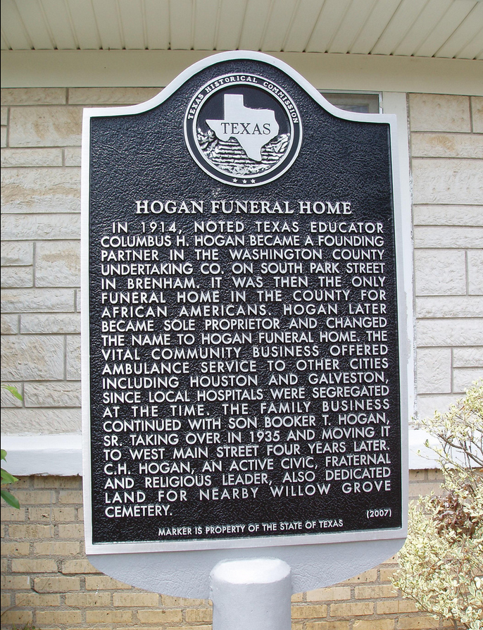Texas Historical Marker placed in front of Hogan Funeral Home
